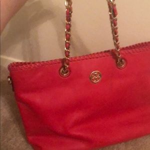 Tory Burch Handbag.. Gold chain strap, braided